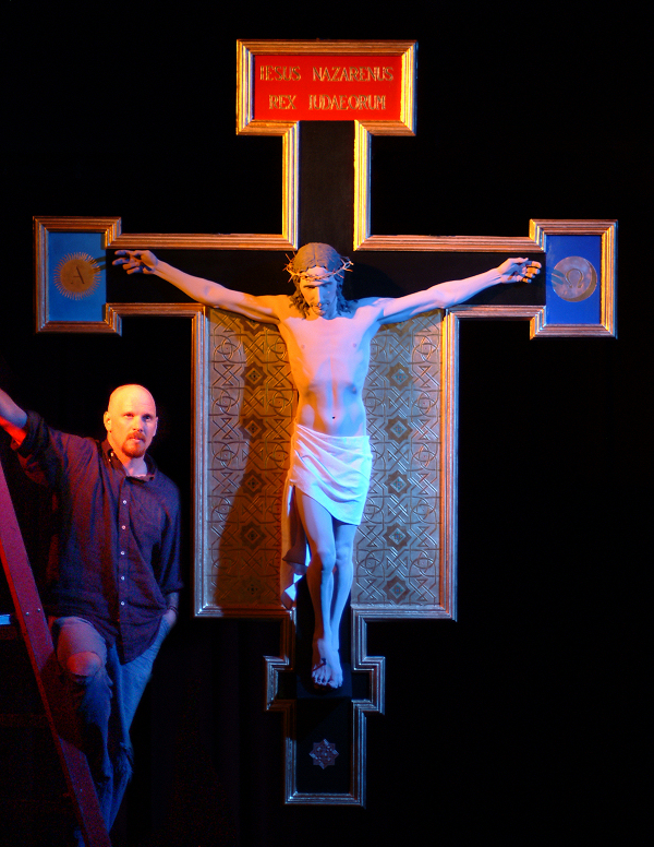 Artist Dave Hewson and the Crucifix