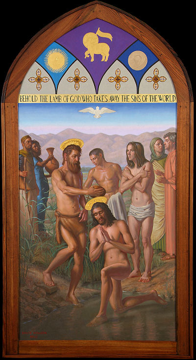 Baptism of Christ by John  24 kt gold water gilt and oil on wood