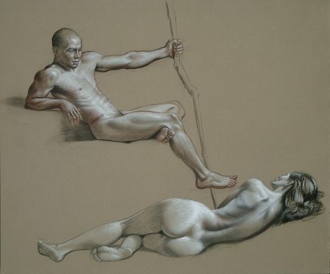 """Double Figure Study"" by artist David Hewson"