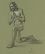 Jesus figure drawing (graphite on paper) by artist Dave Hewson