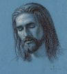 head study of Jesus (conte / chalk on paper) - drawing by artist Dave Hewson